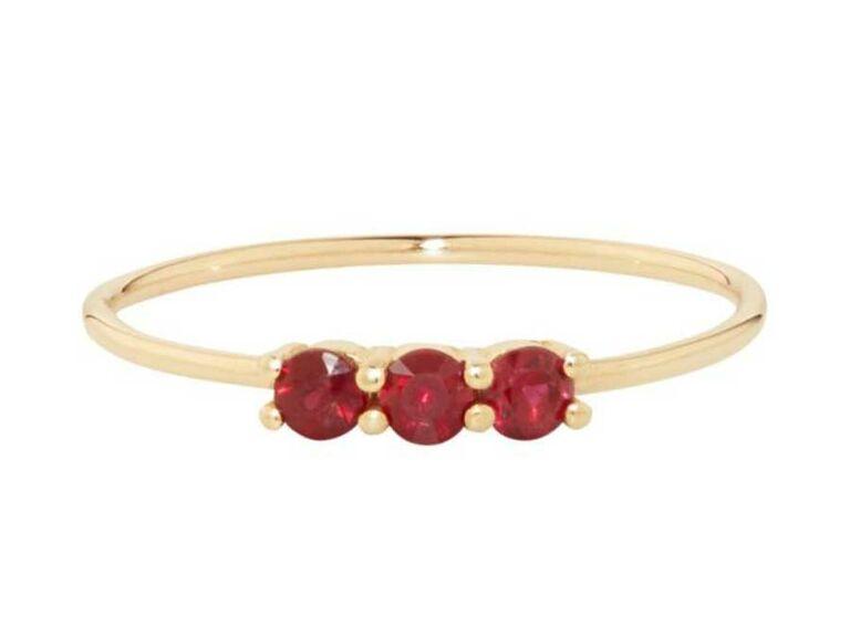 Three small rubies on thin gold band