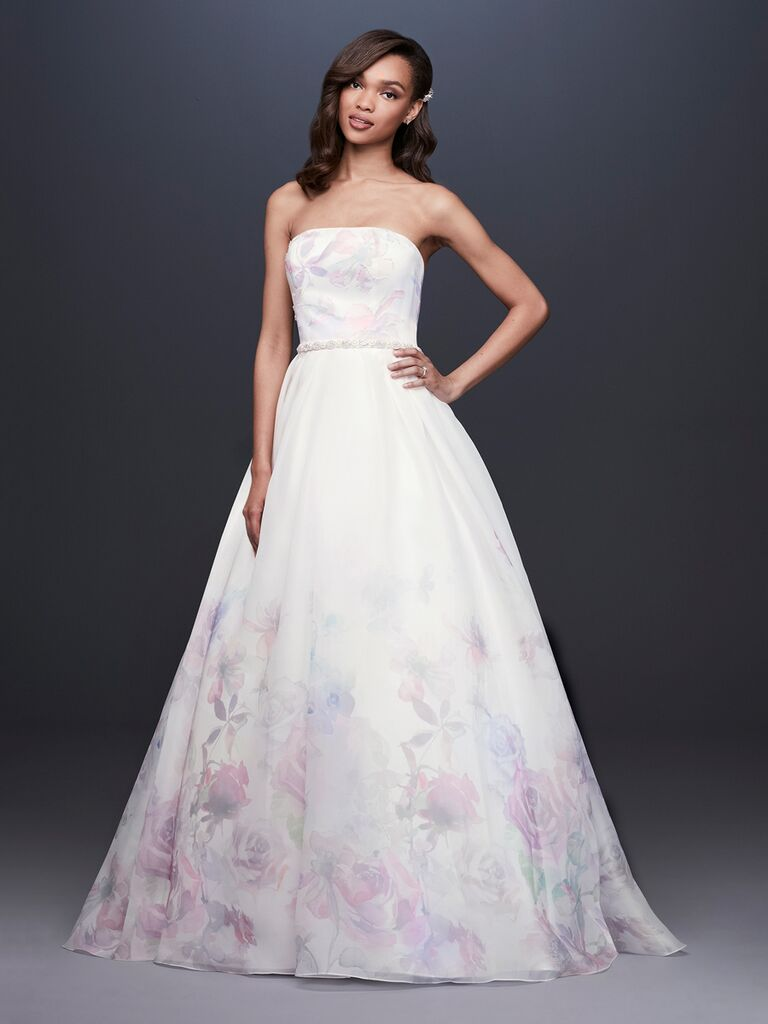 David's Bridal Spring 2019 wedding dress with a ball gown silhouette and pastel floral print