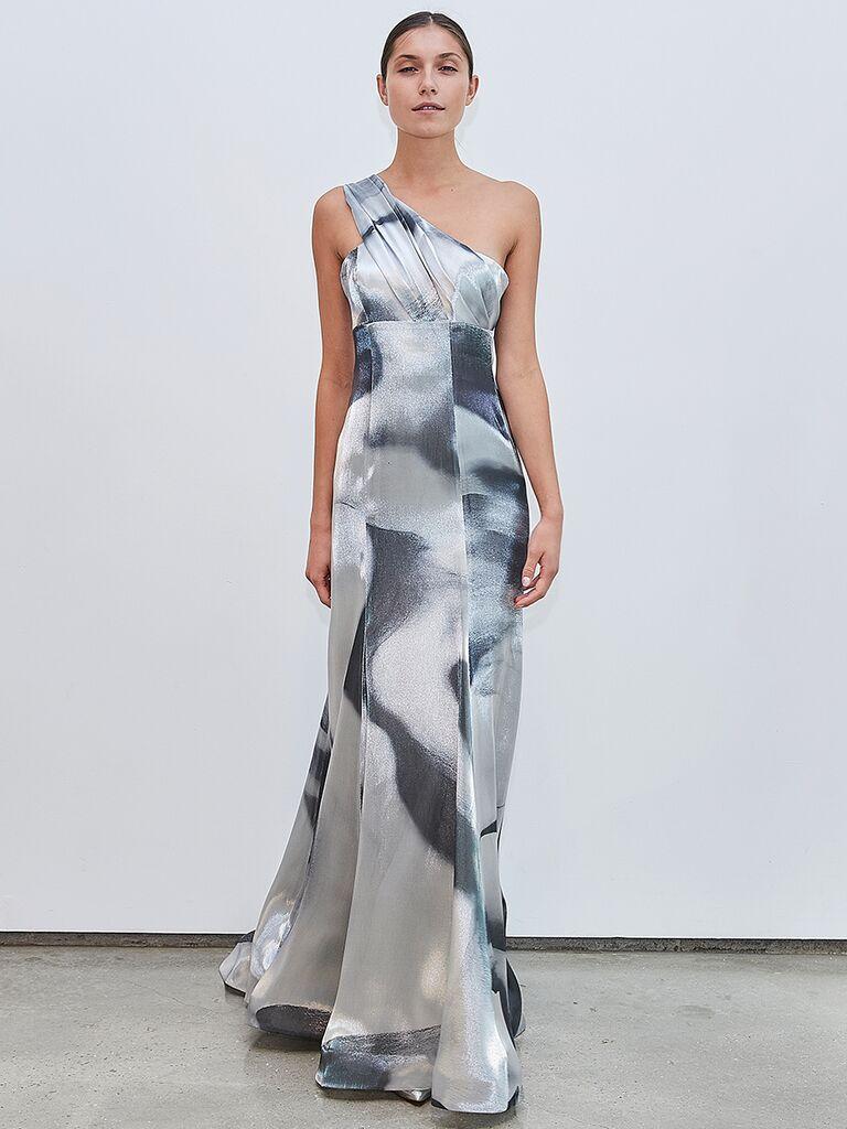 Francesca Miranda one-shoulder grey metallic dress