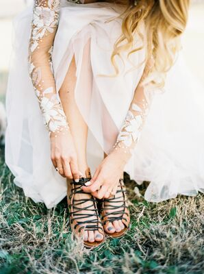 Bride in Lace-Up Leather Sandals
