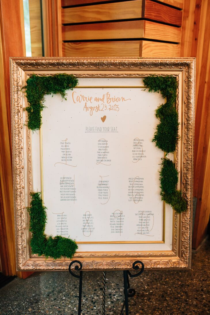 Gold and Moss-Framed Seating Chart