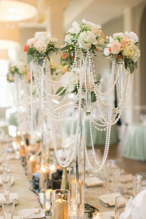 Glass Candelabras with Pearl Strands