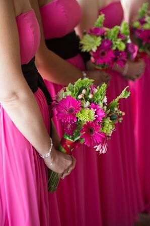 Fuchsia and Green Bouquets