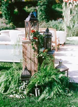 Bohemian Lantern and Fern Aisle Décor