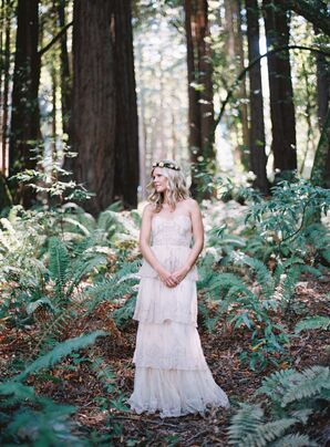 Bohemian BHLDN Blush Wedding Dress
