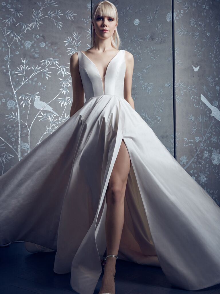 Legends by Romona Keveza Spring 2020 Bridal Collection A-line wedding dress with high leg slit