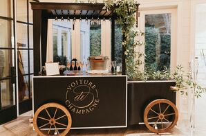Vintage Champagne Cart with Drinks and Greenery