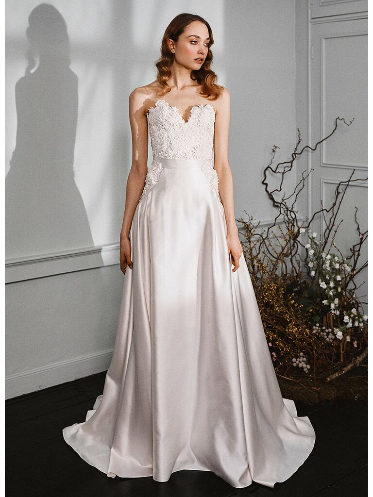 Halfpenny London wedding dress strapless a-line gown with lace bodice