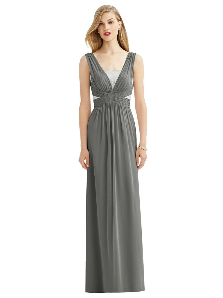 dark gray bridesmaid dress with silver sequin accents