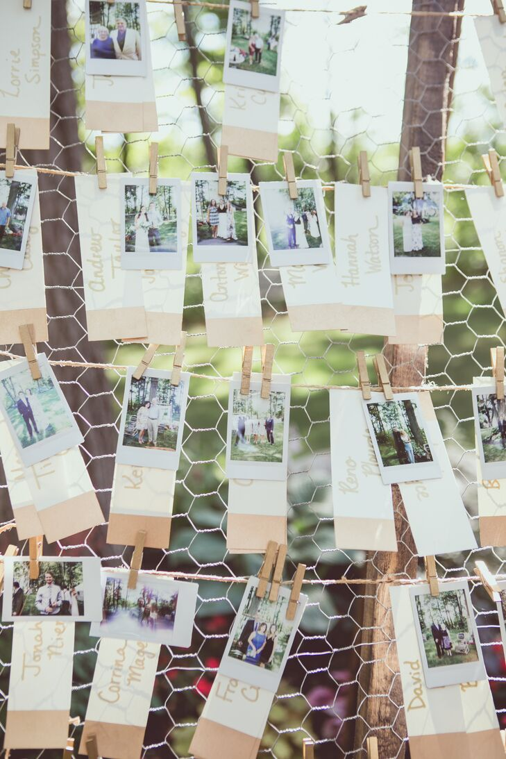 In lieu of a guest book, Kelly-Ann and Michael had friends and family take photos of themselves with a Polaroid camera and then affix their photo to framed chicken wire with a clothespin.