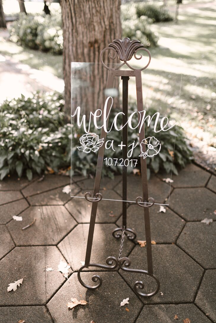 Acrylic Welcome Sign with Floral Illustration and Calligraphy