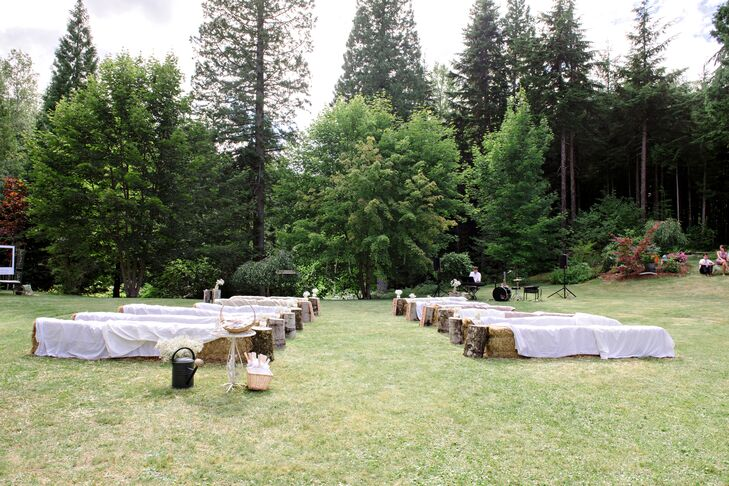 """""""We were married in a beautiful backyard in my hometown of Terrace, BC. Our friend's backyard has beautiful gardens and is surrounded by lovely trees, with quaint touches that caught my eye,"""" says Emilie."""