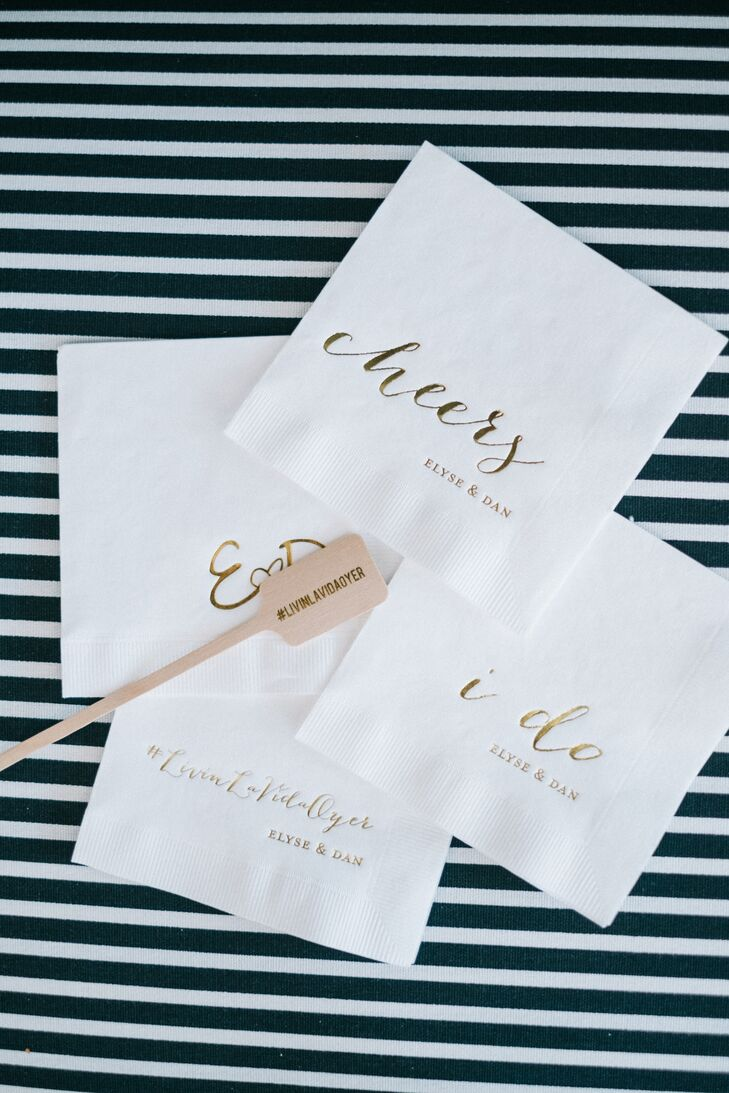 Gold Script Monogrammed Cocktail Napkins