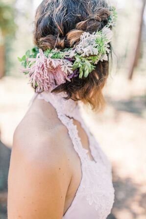 Braided Half-Up Hairstyle and Rustic Flower Crown