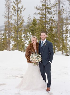 Winter Lace Bridal Gown With Mink Stole