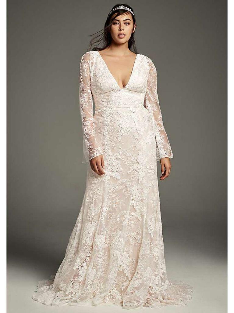 Long sleeve lace plunging V-neck A-line wedding dress