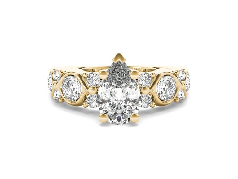 Ritani coil twist diamond engagement ring in 18K yellow gold