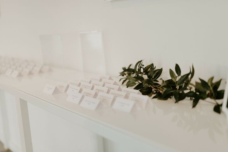 Simple All-White Escort Card Display