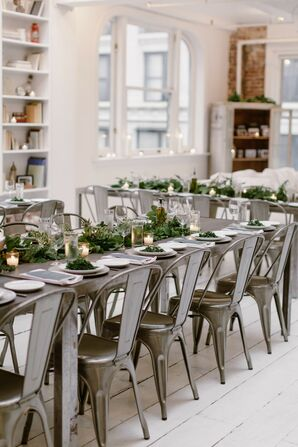 Modern Loft Wedding in New York City with Industrial Tolix Chairs