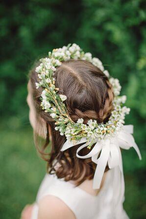 Flower Girl Flower Crown with White Ribbon