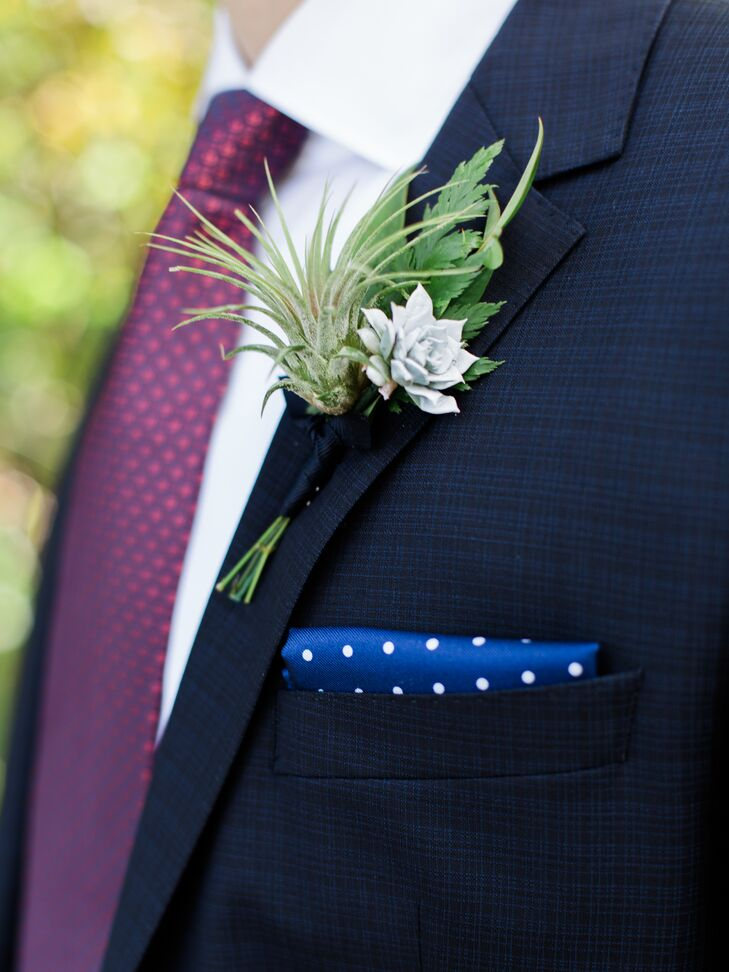 Adam wore an air plant and succulent boutonniere. A royal blue pocket square popped against his lapel.