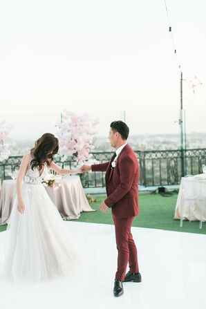 Romantic Couple in Ball Gown and Red Suit