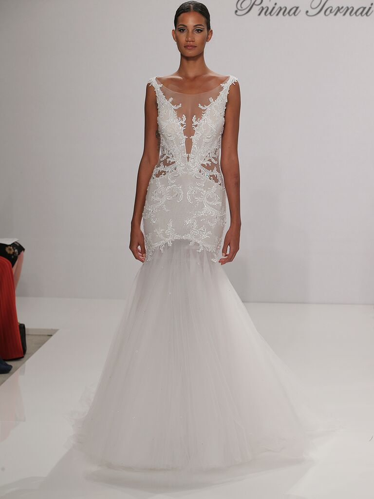 Pnina Tornai Fall 2017 Trumpet Wedding Dress With Illusion Neckline