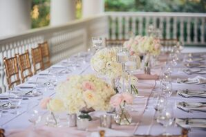 Blush, White and Silver Centerpieces