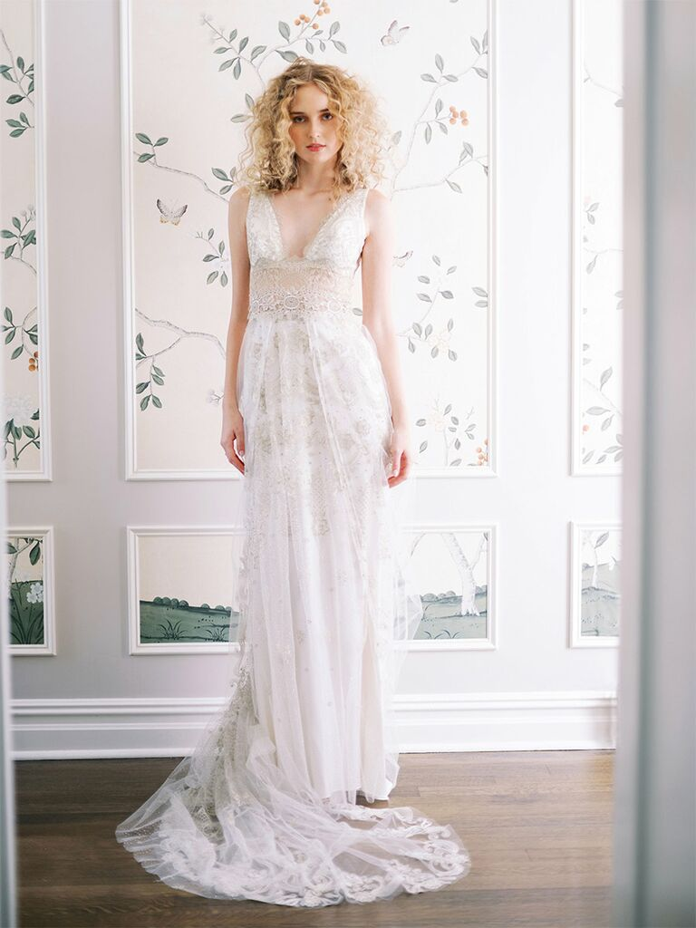 claire pettibone wedding dress plunging lace a-line dress