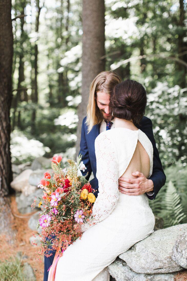 Long-Sleeved, Open-Back Wedding Dress