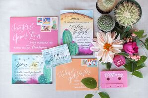 Colorful Invitations with Watercolor Desert Design