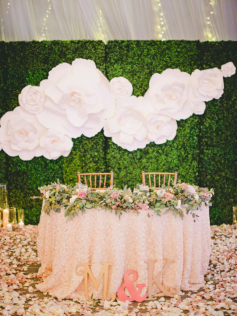 Whimsical Tented Wedding Reception Decor With A Paper Flower Backdrop