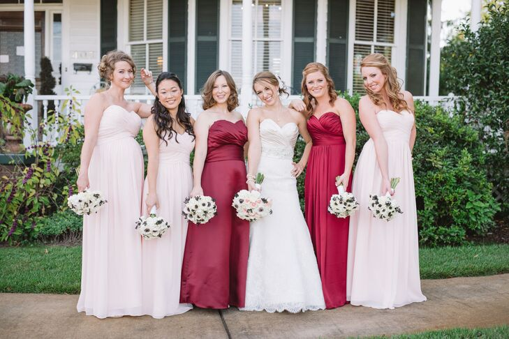 "Stacy Maid and Matron of Honor stood out amongst the pale pink bridesmaid dresses in burgundy gowns. ""We went with burgundy because its a great fall color but its also one of our University of South Carolina school colors!"""
