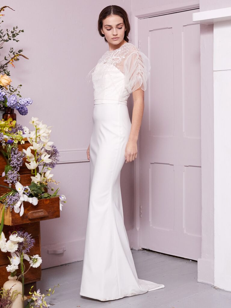 Halfpenny London 2020 Bridal Collection column wedding dress with sheer puff sleeves