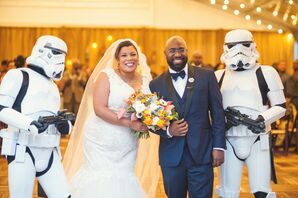 Whimsical Bride and Groom with Stormtroopers