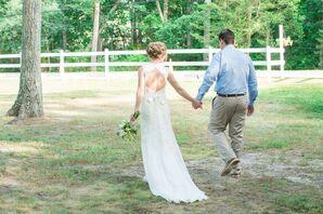 Lace, Cap-Sleeve, Key Hole Back Wedding Dress