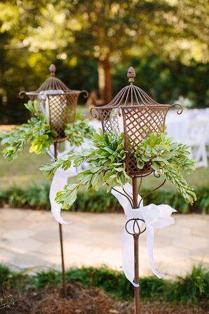Cocktail Hour Lanterns with Greenery and White Bows