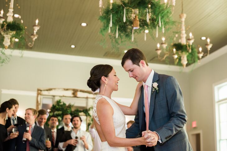 """For their first dance, the newlyweds danced to """"Still the One"""" by Orleans, the same song that Harrison popped the question to."""