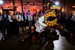 Funny First Dance with Giraffe Head Costumes