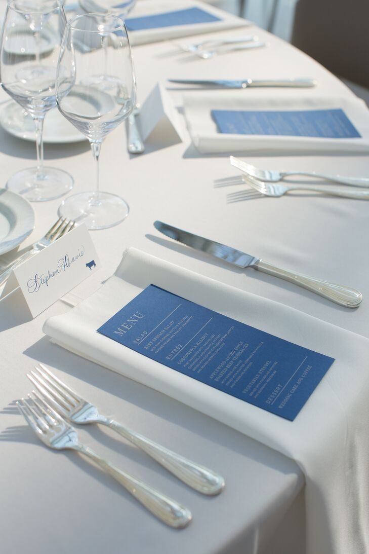 Modern Blue and White Menu Cards