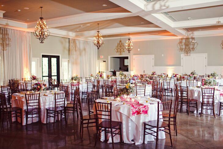 Elegant Pink and White Reception Decor