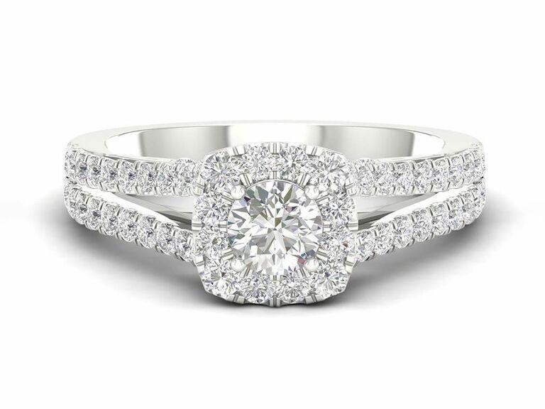 Jenny Packham cushion cut diamond engagement ring with diamond halo and split shank diamond setting