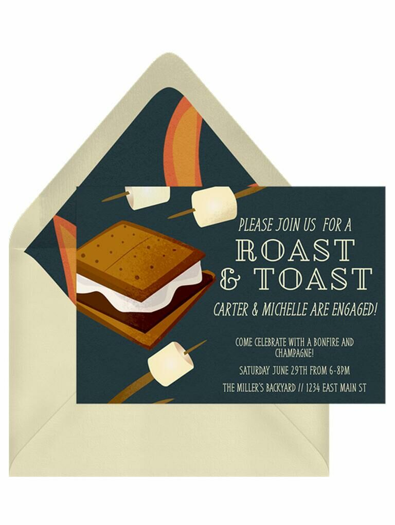 Summer s'mores engagement party invitation