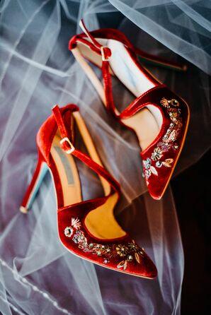 Modern Velvet Heels with Embellishments