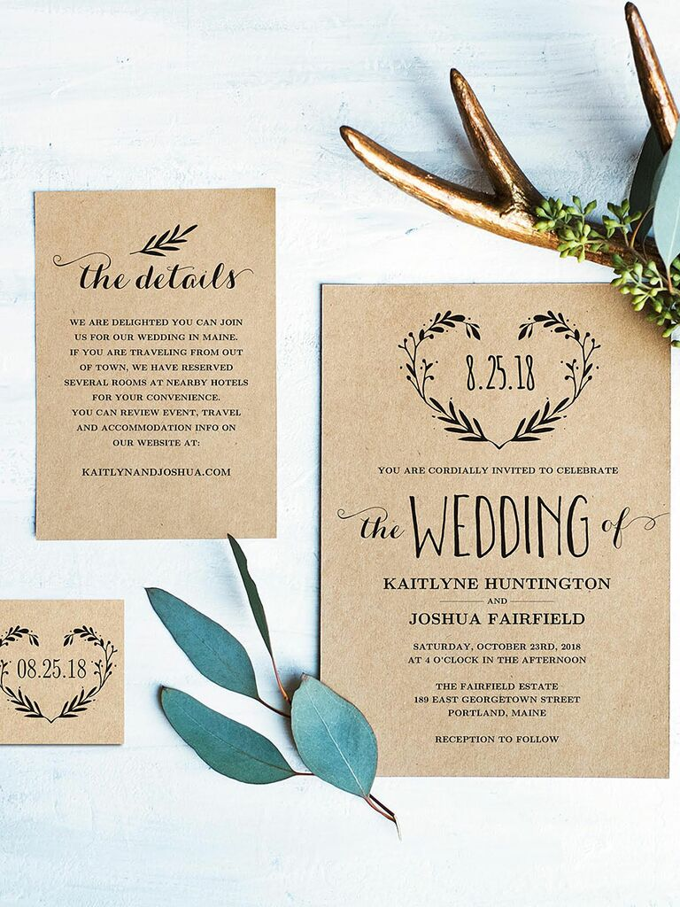 Rustic Wreath Wedding Invitation Template
