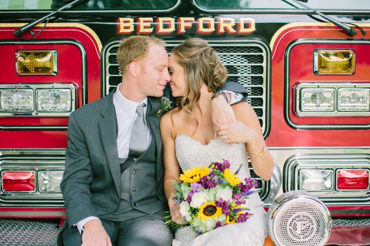 For their late-summer wedding in New Milford, Connecticut, Kimberly Brady (28 and a recruiter) and Peter Aquilino (33 and a professional firefighter)