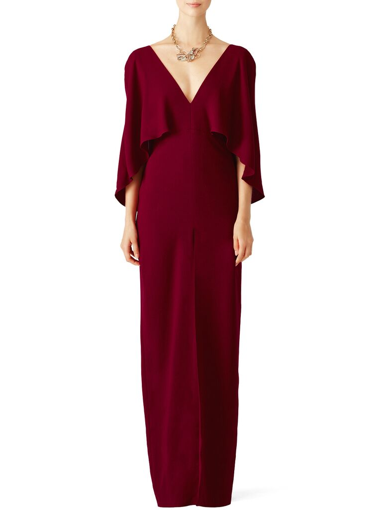 mulberry cape gown