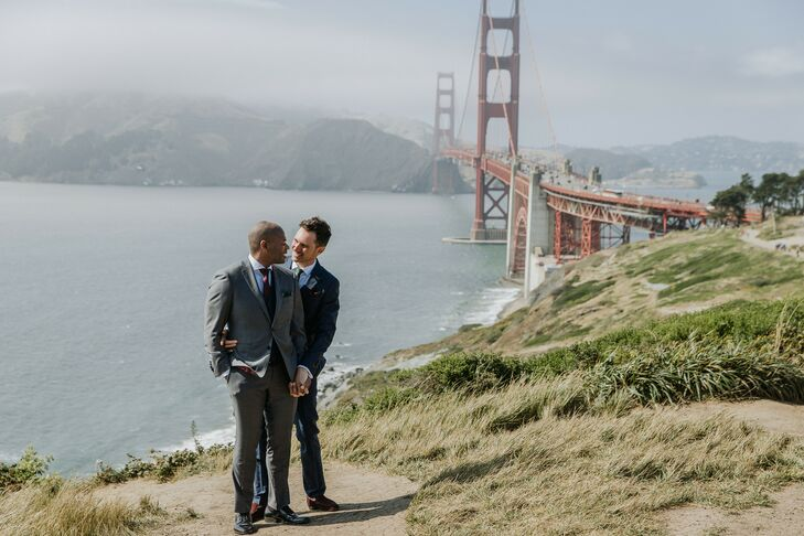 Same-Sex Couple Portraits in Front of the Golden Gate Bridge in San Francisco