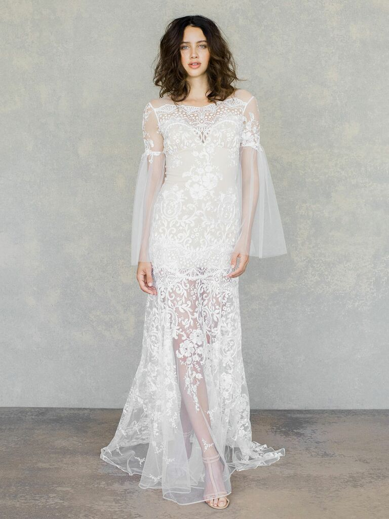 Claire Pettibone Spring 2019 embroidered lace wedding dress with sheer tulle sleeves