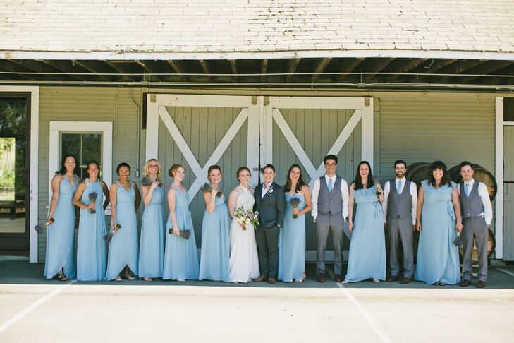 Wedding Party in Suits and Pastel Blue Gowns